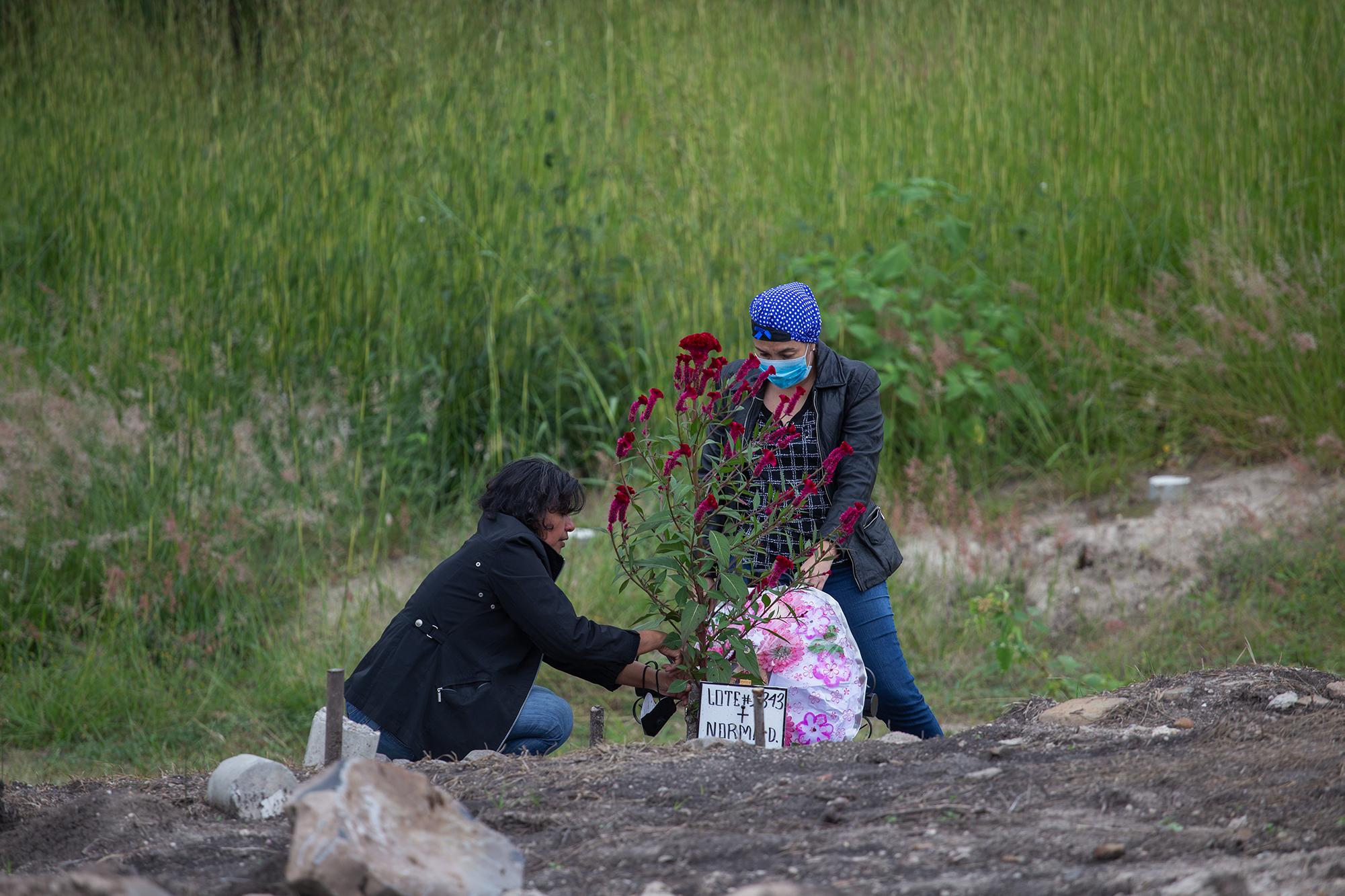 Dos mujeres limpian y adornan con flores la tumba de un familiar en el anexo del Parque Memorial Jardín de los Ángeles. Comayagüela, 2 de noviembre de 2020. Foto: Martín Cálix.