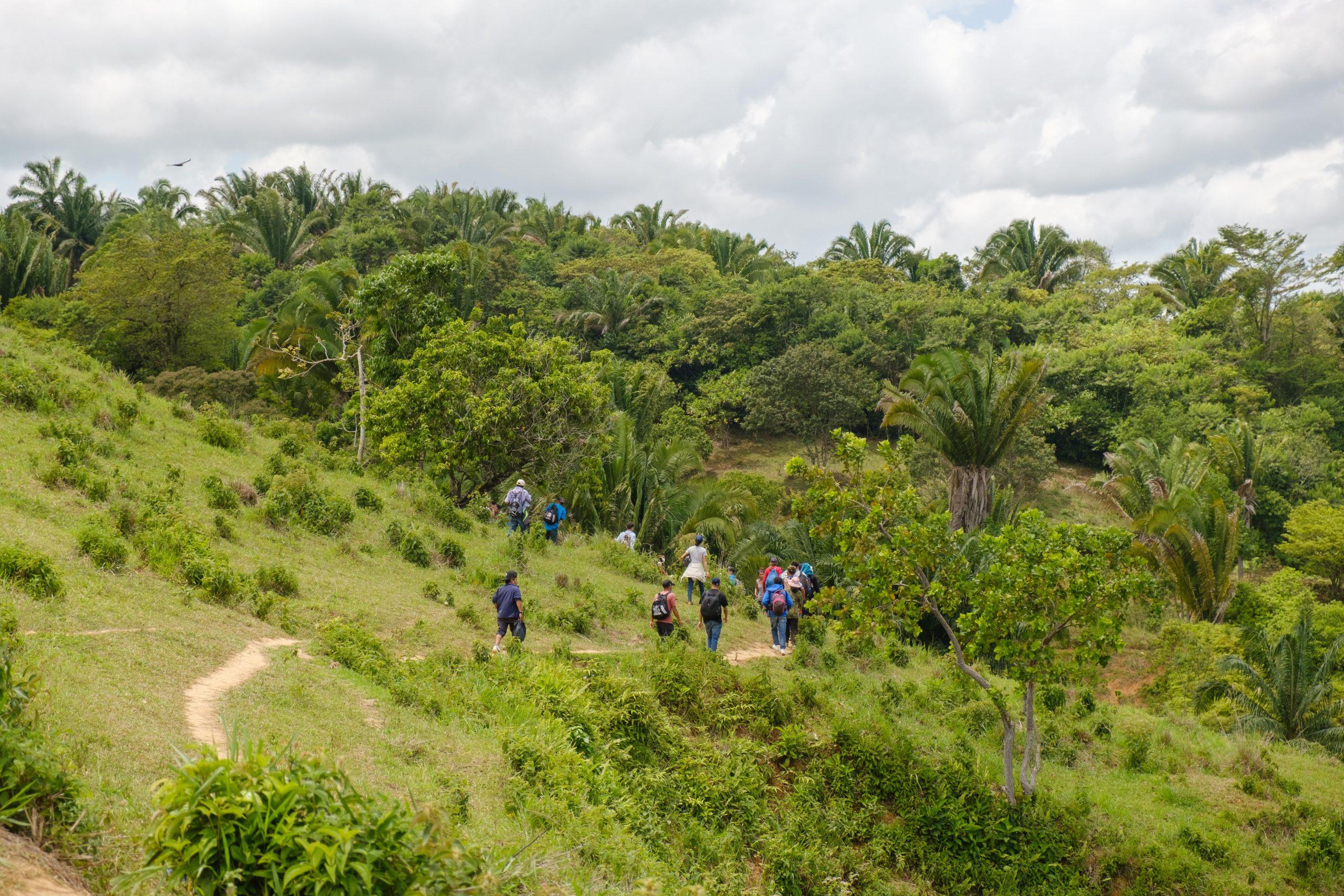Migrantes hondureños avanzan en medio de montañas en un punto ciego para evitar los controles migratorios en la aduana de Corinto, Frontera con Guatemala.