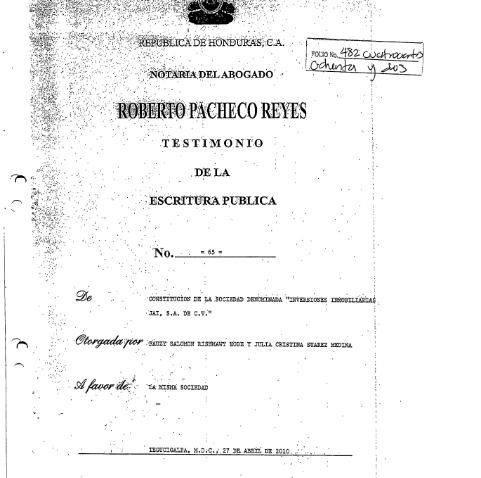 Escritura Inversiones Inmobiliarias JAI S.A. de C.V.